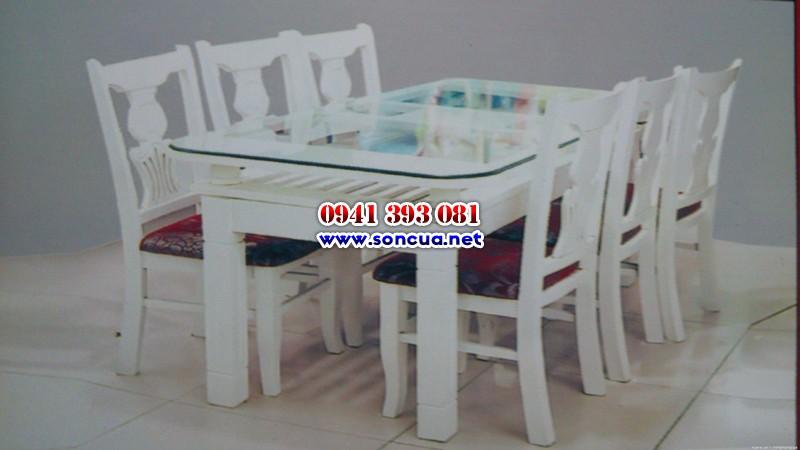Bộ bàn ăn sơn màu trắng