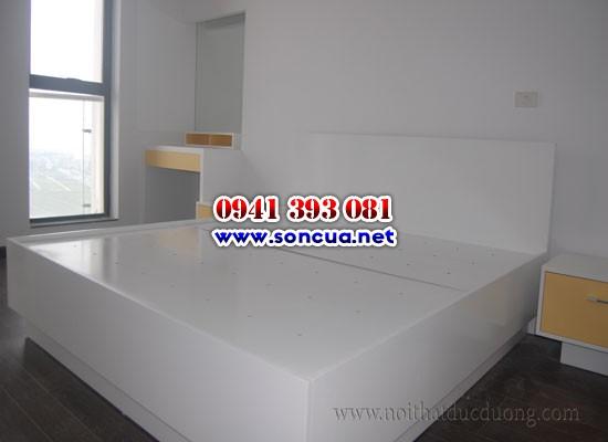 Sơn giường và đồ trong phòng ngủ màu trắng