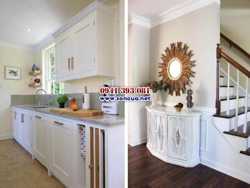 Đồ gỗ nội thất trong nhà sơn máu trắng sang trọng